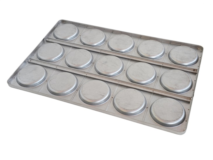 Pan with moulds for hamburger buns
