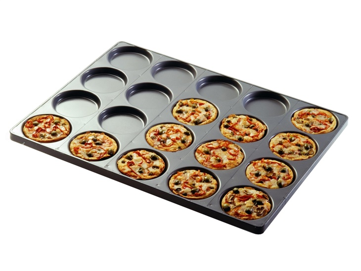 Pan with round moulds for pizza and focaccia