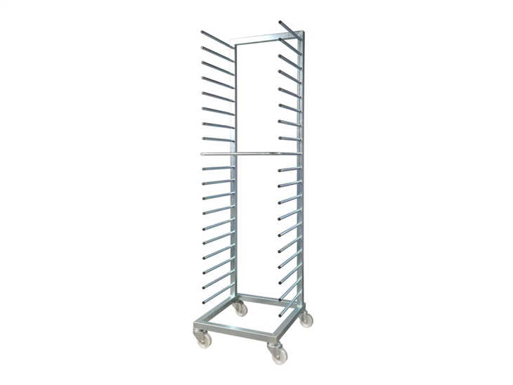 Trolley with pegs for trays